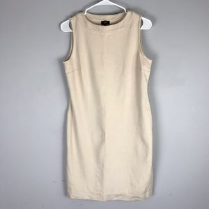 Talbots mini sheath dress beige sleeveless petite